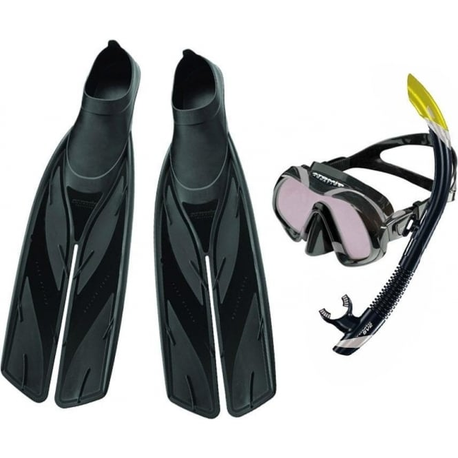 Atomic Aquatics Venom Mask ARC, SV2 Dry Snorkel & Split Fin Set